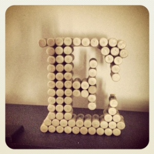 Wine Cork Monogram Letter E