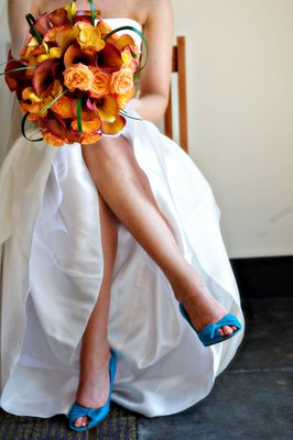 orange flowers with teal shoes